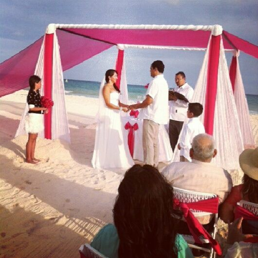 Jessica and Humberto beach ceremony with guests